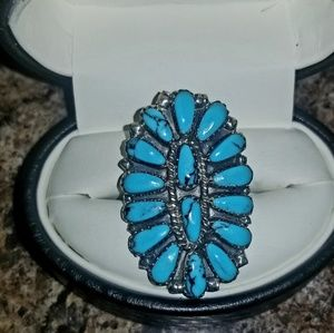 Womens zuni Needlepoint silver & turquoise ring
